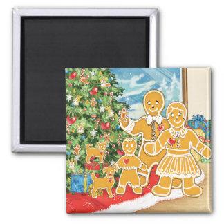 Familia del pan de jengibre con su árbol de navida imán cuadrado