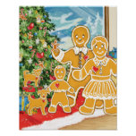Familia del pan de jengibre con su árbol de navida posters