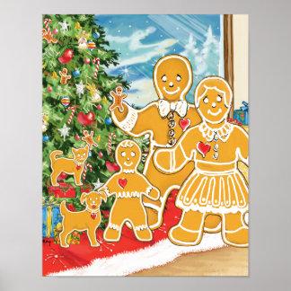 Familia del pan de jengibre con su árbol de navida póster