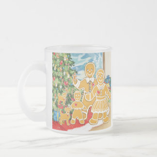Familia del pan de jengibre con su árbol de navida taza cristal mate