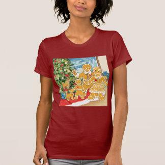 Familia del pan de jengibre con su árbol de poleras