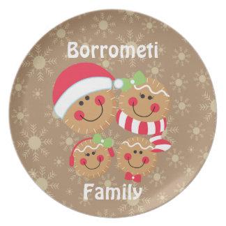 Familia del pan de jengibre de plato de 4 navidad