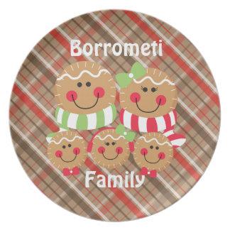 Familia del pan de jengibre de plato de 5 navidad