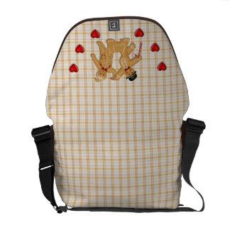 Familia del pan de jengibre - fondo de la tela esc bolsa de mensajeria