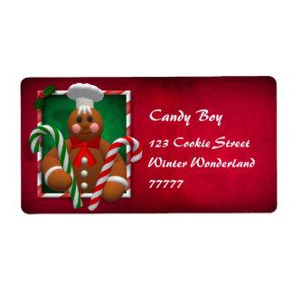 Familia del pan de jengibre: Muchacho del caramelo Etiquetas De Envío
