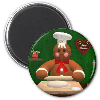 Familia del pan de jengibre: Pequeño panadero Imán Redondo 5 Cm