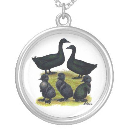Familia del pato del Cayuga Grimpolas