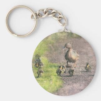 Familia del pato llavero redondo tipo pin