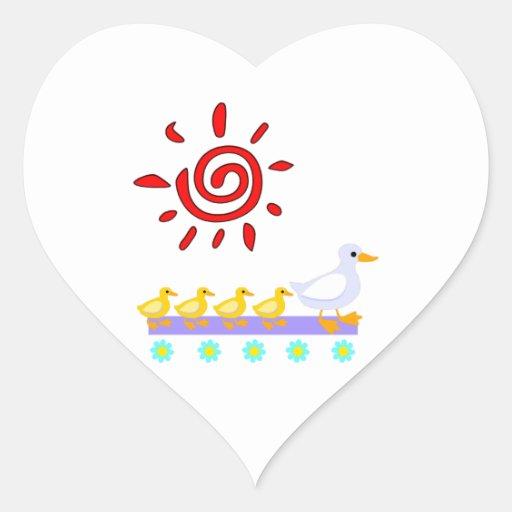 Familia del pato pegatina en forma de corazón