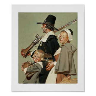 Familia del peregrino. Poster de la bella arte