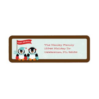 Familia del pingüino de etiqueta de 2 días de fies etiquetas de remite