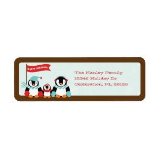 Familia del pingüino de etiqueta de 3 días de fies etiqueta de remite