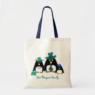Familia del pingüino de la diversión.  Bolso de co Bolsa Tela Barata