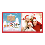 Familia del pingüino de tarjeta de la foto de 4 na tarjeta con foto personalizada