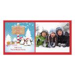 Familia del pingüino de tarjeta de la foto de 5 na tarjetas personales