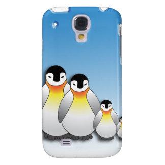 Familia del pingüino del dibujo animado en la cubi