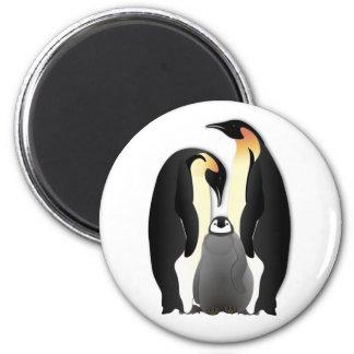 familia del pingüino imán redondo 5 cm
