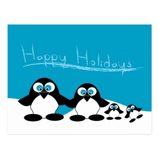 familia del pingüino postales