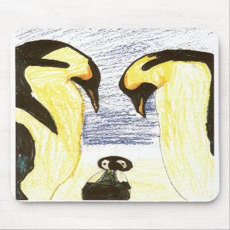 Familia del pingüino que dibuja Mousepad Alfombrilla De Raton