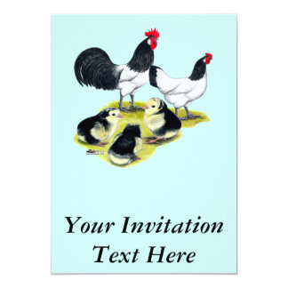 Familia del pollo de Lakenvelder Invitaciones Personales