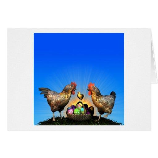 Familia del pollo de Pascua con los huevos de Pasc Tarjeta De Felicitación