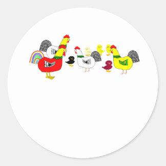 Familia del pollo pegatina redonda