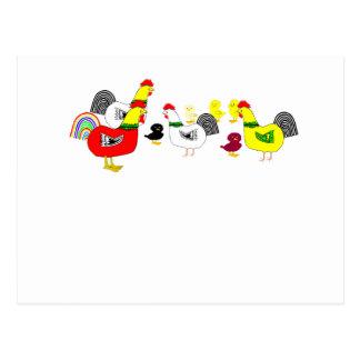 Familia del pollo tarjetas postales