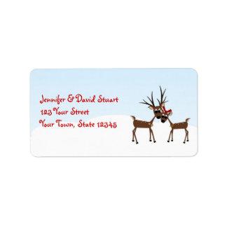 Familia del reno de las vacaciones de invierno etiqueta de dirección