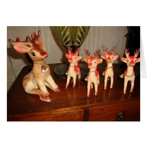 Familia del reno de Rudolph Tarjeton