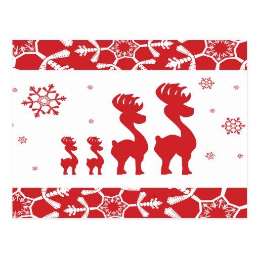 Familia del reno del navidad tarjeta postal