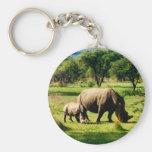 familia del rinoceronte llaveros personalizados