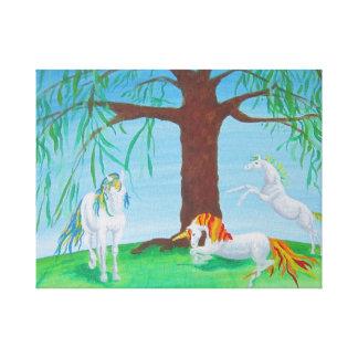 Familia del unicornio lienzo envuelto para galerías