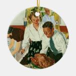 Familia del vintage que cocina la cocina de la cen adorno