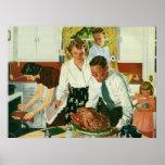 Familia del vintage que cocina la cocina de la cen posters