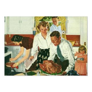 """Familia del vintage que cocina la cocina de la invitación 5"""" x 7"""""""