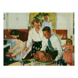 Familia del vintage que cocina la cocina de la póster