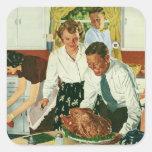 Familia del vintage que cocina la cocina de la pegatina cuadrada