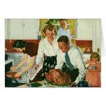 Familia del vintage que cocina la cocina de la tarjetón