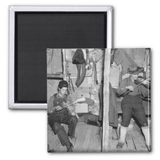 Familia del violín del río del hierro, los años 30 imán cuadrado
