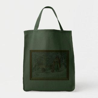 Familia en el bosque del invierno bolsas de mano