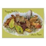 Familia en las hojas - feliz cumpleaños del ratón tarjeta