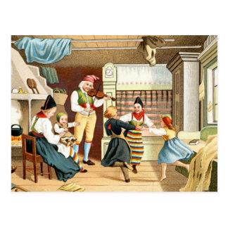 Familia escandinava tradicional tarjeta postal