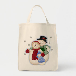 Familia escarchada del muñeco de nieve - azul bolsa tela para la compra