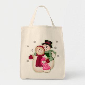 Familia escarchada del muñeco de nieve - rosa bolsa tela para la compra
