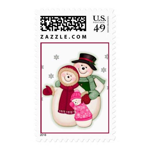 Familia escarchada del muñeco de nieve - rosa sello