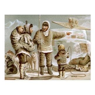 Familia esquimal postales