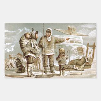 Familia esquimal rectangular pegatinas