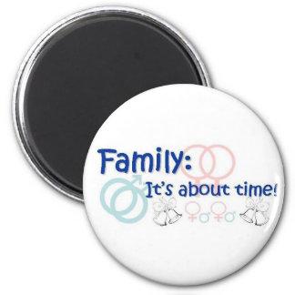 Familia-está sobre el imán del tiempo