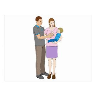 Familia feliz cariñosa joven tarjetas postales