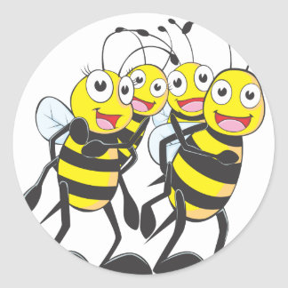 Familia feliz de la abeja pegatina redonda